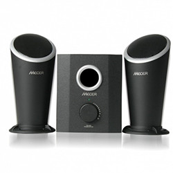 2.1 Channel Amplified Speaker (20W Subwoofer + 2 x 10W Channel) W/USB MP3 Player & Remote Control - Black