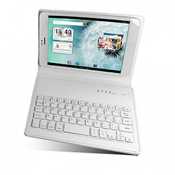"Mecer Universal 7.85"" and 8"" (4x3 and 16x10 Format) Folio-Type Protective Cover with Bluetooth Keyboard - White"