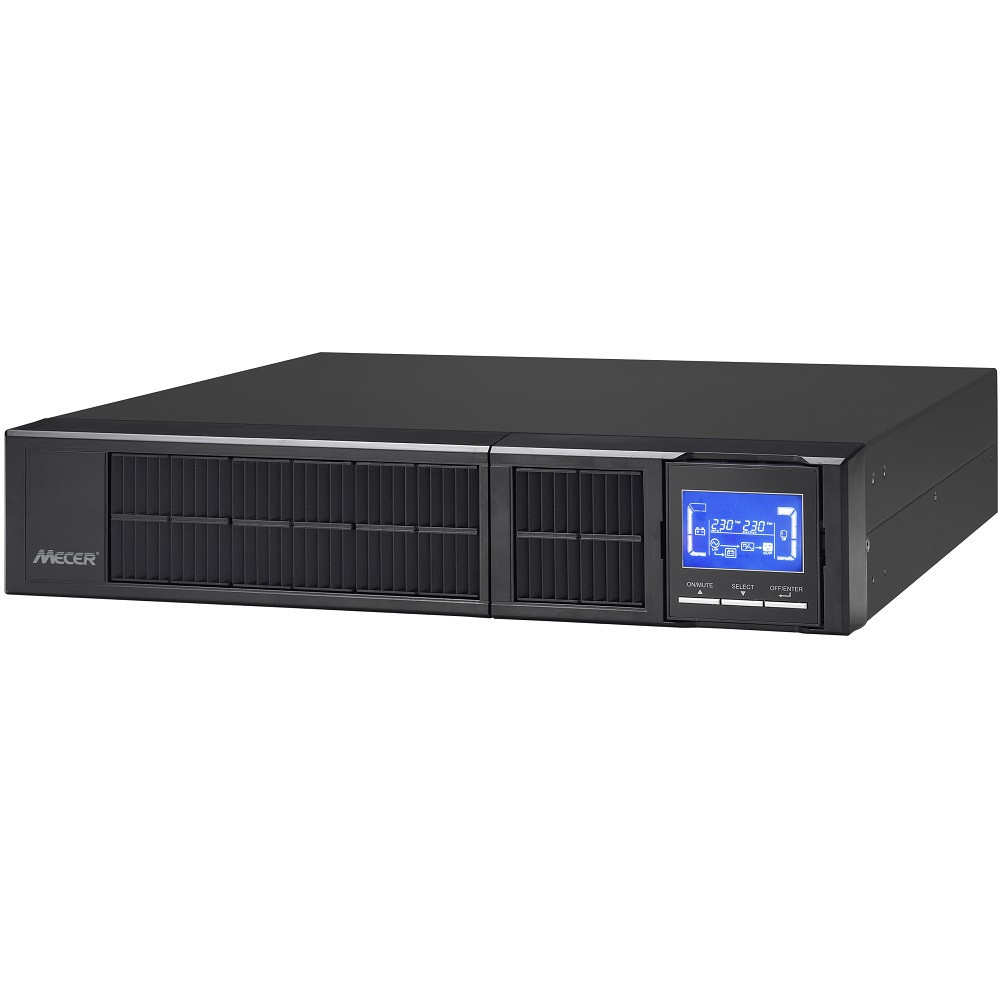 Mecer 2000VA 2U ON-LINE SINE WAVE Rackmountable UPS (with  Monitoring Software) -Black